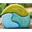 Casuta fantezie 3 elemente din lemn - nuante de albastru - verde