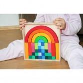 Joc de construit - Set creativ cu 35 de cuburi de construit curcubeu GRIMM'S