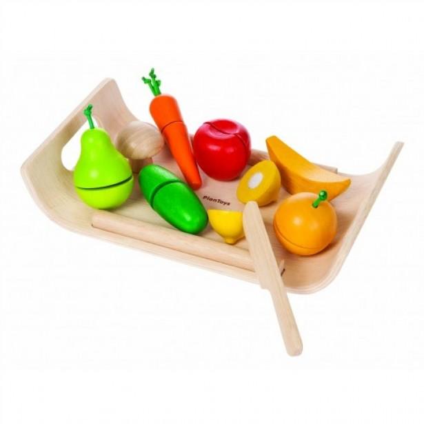 Joc de rol - Set cu fructe si legume de lemn Plan Toys