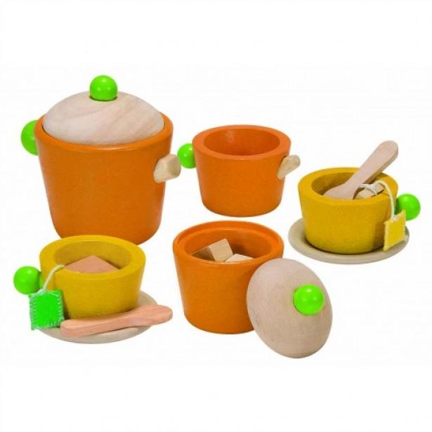 Joc de rol - Set colorat pentru servit ceaiul Plan Toys