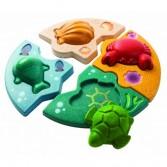 Puzzle educativ cu scoica, testoasa, crab si balena Plan Toys
