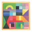Set 55 cuburi de construit cu forme geometrice si saculet textil
