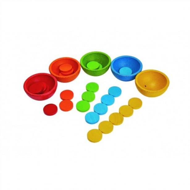 Jucarie cu cupe pentru sortat si numarat Plan Toys