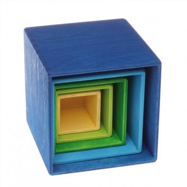 Set de 5 cutii pentru ordonat si stivuit - albastru, verde si galben