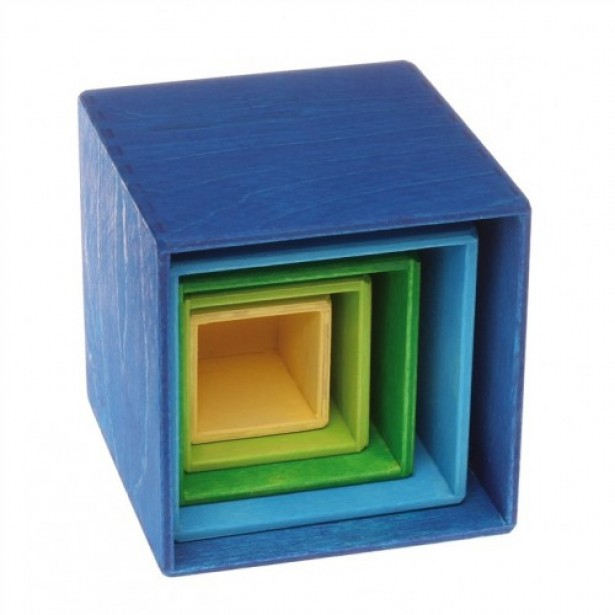 Set de 5 cutii pentru ordonat si stivuit - albastru, verde si galben GRIMM'S