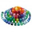 Joc de construit - Set creativ cu 100 de piese din lemn in culorile curcubeului