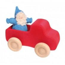 Camion din lemn cu portbagaj – rosu