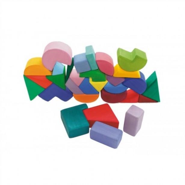Set 30 cuburi de construit colorate de la Grimm's