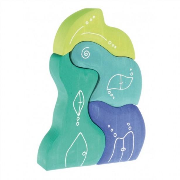 Casuta fantezie 4 elemente din lemn - albastru si verde