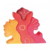 Casuta fantezie 4 elemente din lemn - rosu si portocaliu