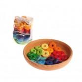 Discuri din lemn colorate in cele 12 culori ale curcubeului