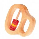 Jucarie zornaitoare cu maner si cinci discuri colorate in rosu si galben - GRIMM'S