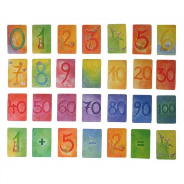 Set cu 48 de carduri ilustrate pentru invatarea numerelor Grimm's