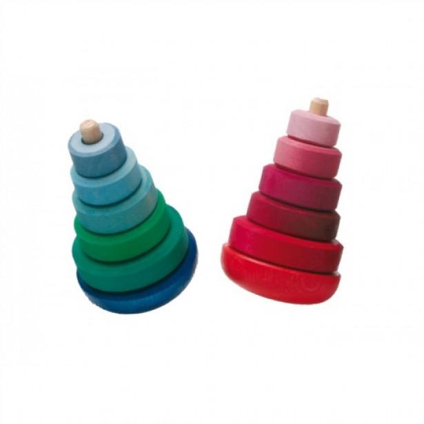 Turn 5 piese din lemn colorat in nuante de albastru si verde GRIMM'S