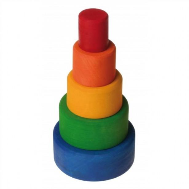 Set de 5 boluri din lemn pentru bebelusi - albastru, verde, galben, portocaliu si rosu GRIMM'S
