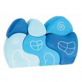 Casuta fantezie 4 elemente din lemn - nuante de albastru