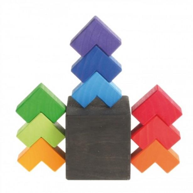 Joc de indemanare cu 9 piese colorate din lemn