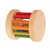 Zornaitoare pentru bebelusi in forma de cilindru cu bile din lemn si metal