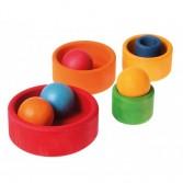 Set de 5 boluri din lemn pentru bebelusi - rosu, galben, verde si albastru