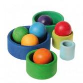 Set de 5 boluri din lemn pentru bebelusi - verde, bleu si albastru