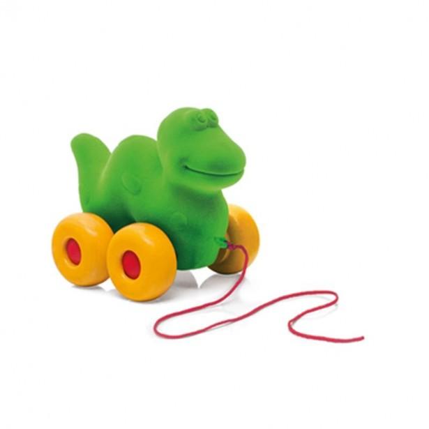 Jucarie de tras din cauciuc natural, Dinozaur, verde, 1an + Rubbabu