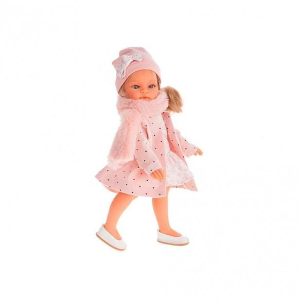 Papusa fetita Emily blonda cu palton si esarfa de blana roz, 33 cm, +3 ani, Antonio Juan