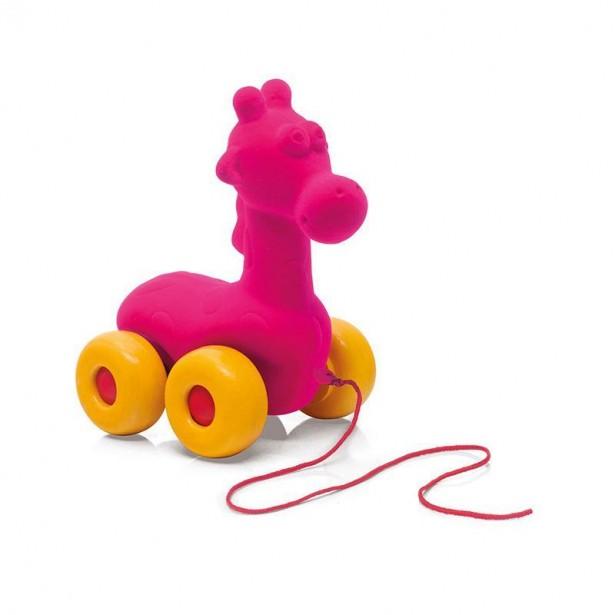 Jucarie de tras din cauciuc natural, Girafa, roz, 1an + Rubbabu