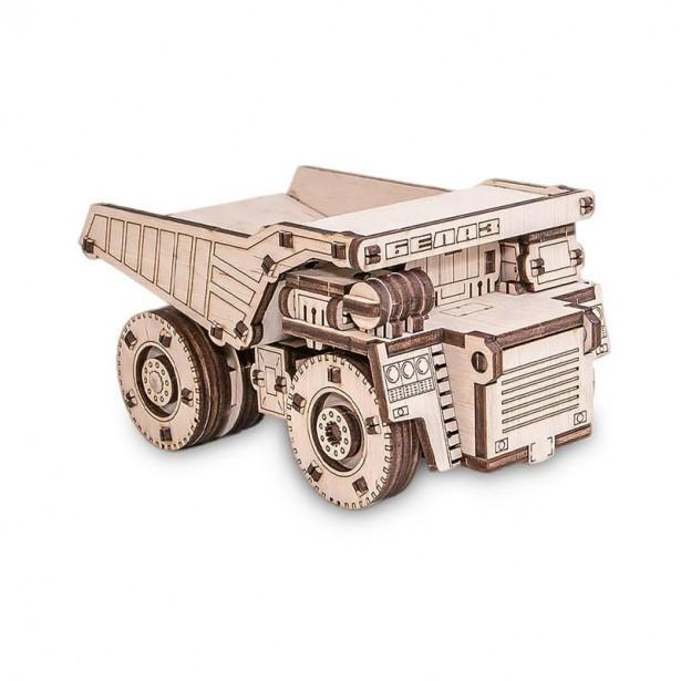 Set constructie cu mecanism Puzzle 3D BELAZ MINI din lemn 105 piese @ EWA
