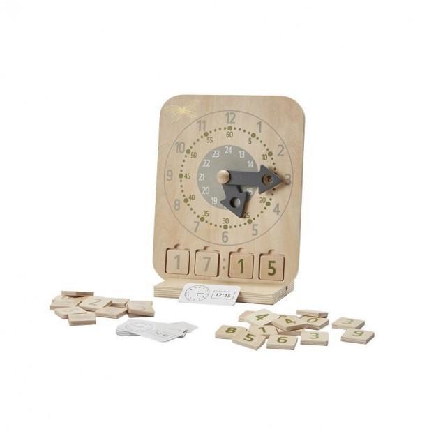 Ceas educativ din lemn, cu piese detasabile pentru ora in format digital, cu 12 carduri educative, +3 ani, byASTRUP
