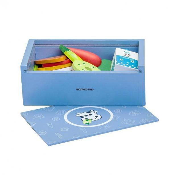 Caserola pranz (lunchbox) de jucarie, albastra, din lemn, MamaMemo
