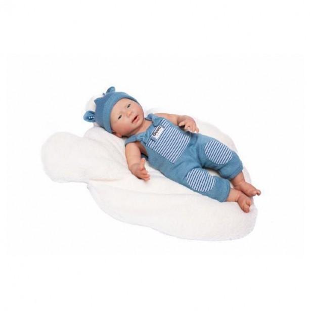 Papusa nou-nascut hiper-realist Silicone Reborn David, cu salopeta tricotata, 46 cm, Guca
