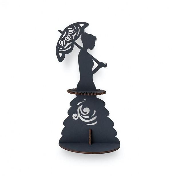Suport decorativ pentru servetele LADY WITH UMBRELLA negru din lemn 3 piese @ EWA