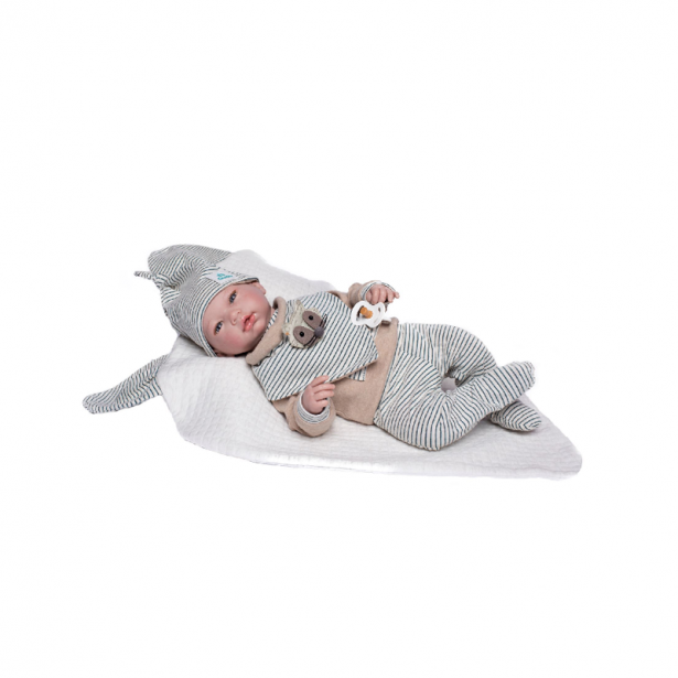Papusa bebelus realist Reborn Axel, cu ochi albastri si fara par, 46 cm, Guca