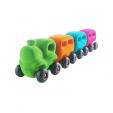 Trenulet magnetic cu 3 vagoane din cauciuc natural, 1 an+, Rubbabu