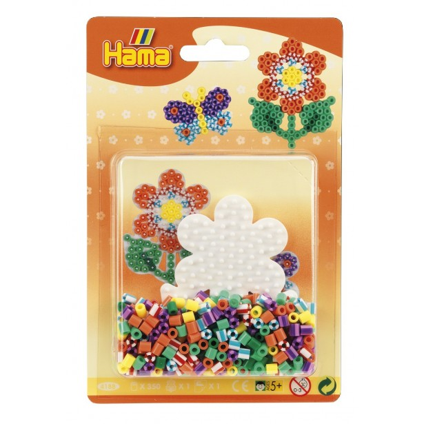 Floare - Margele de calcat Hama Midi infoliat (in basica) 350 de margele si 1 planseta