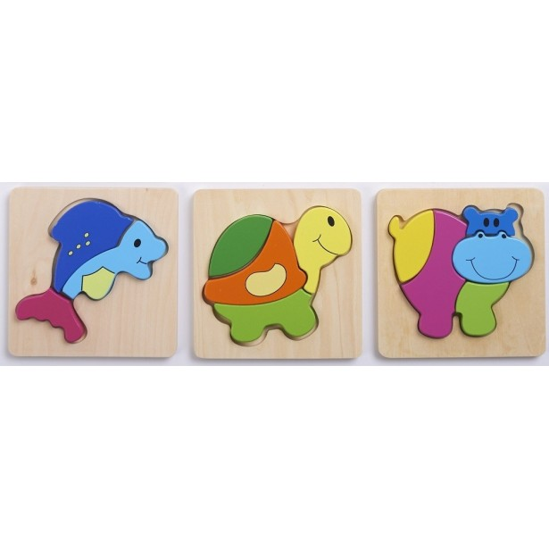 Set de 3 puzzle lemn ANIMALE Commotion