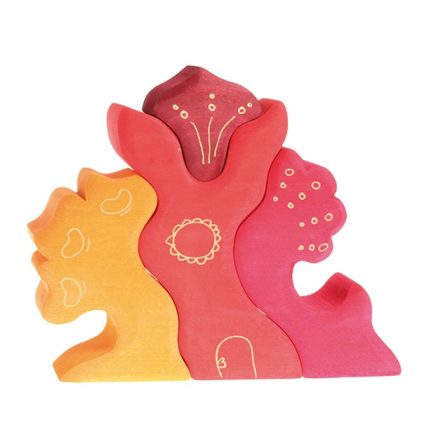 Casuta fantezie 4 elemente din lemn - rosu si portocaliu Grimm's