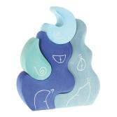 Casuta fantezie 4 elemente din lemn - nuante de albastru Grimm's
