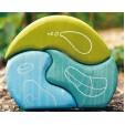 Casuta fantezie 3 elemente din lemn - nuante de albastru - verde Grimm's
