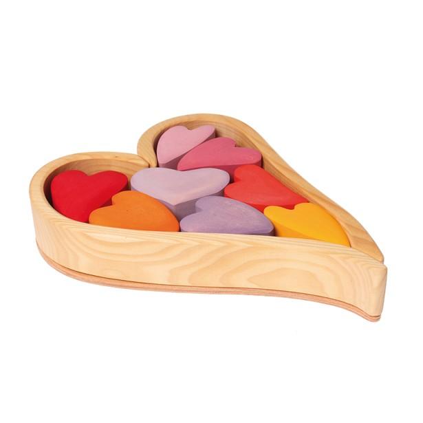 Setul 8 inimioare in nuante de mov, rosu si portocaliu Grimm's