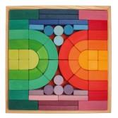Joc de construit cu 62 cuburi din lemn mari - arhitectura medievala romanica GRIMM'S