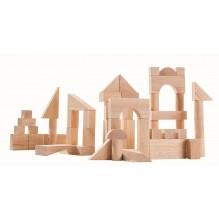 Set de constructie cu 50 de blocuri din lem, culoare natur
