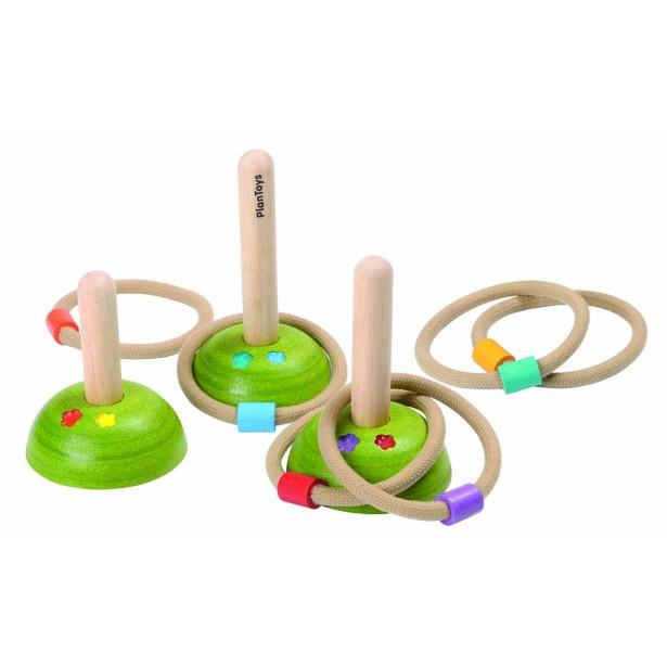 "Set ""Arunca la tinta"" -  6 inele din material textil si 3 indicatoare Plan Toys"