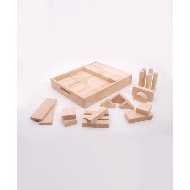 Set de 54 Cuburi de lemn JUMBO natur - TickiT