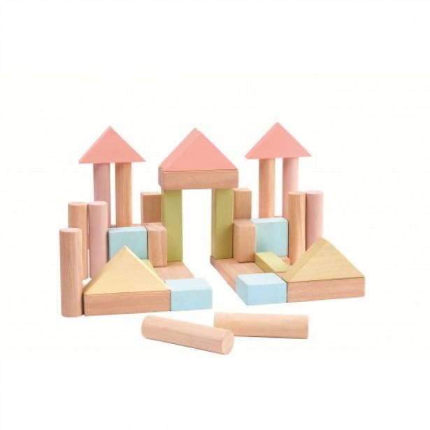 Set de constructie cu 40 de blocuri din lem, culoare pastel
